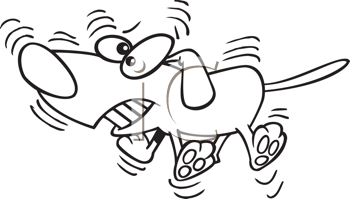 Royalty Free Clipart Image of a Wagging Dog
