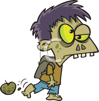 Royalty Free Clipart Image of a Zombie Student