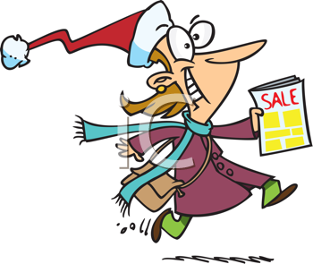 Royalty Free Clipart Image of a Woman in a Stocking Cap Rushing Off to a Sale