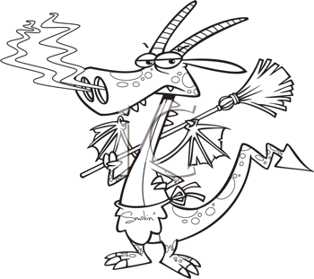 Royalty Free Clipart Image of a Fire-Breathing Dragon Housekeeper