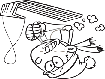Royalty Free Clipart Image of a Child Flipping Over on a Toboggan