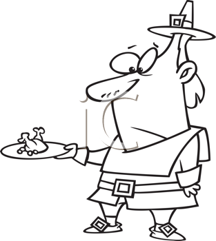 Royalty Free Clipart Image of a Pilgrim With a Tiny Turkey on a Plate
