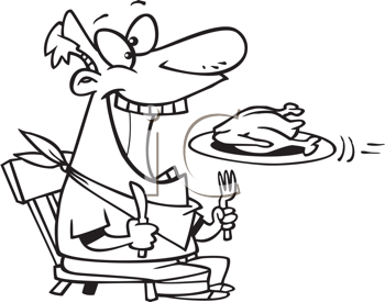 Royalty Free Clipart Image of a Guy With His Mouth Open Waiting for a Turkey