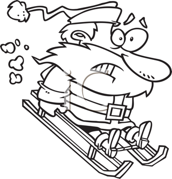Royalty Free Clipart Image of a Scared Santa on a Sled