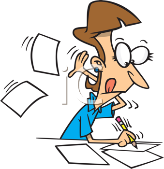 Royalty Free Clipart Image of a Person Writing and Throwing Paper