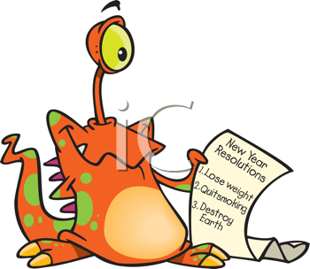 Royalty Free Clipart Image of an Alien With a List of Resolutions