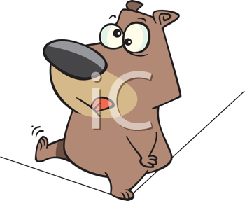 Royalty Free Clipart Image of a Bear on a Tightrope