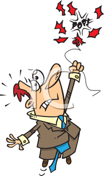 Royalty Free Clipart Image of a Guy in the Air When the Balloon Breaks