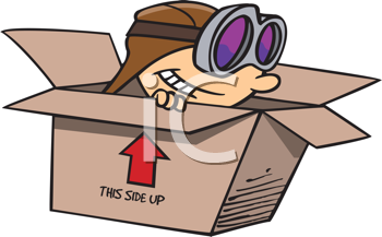 Royalty Free Clipart Image of a Child Pretending to Be a Pilot in a Cardboard Box
