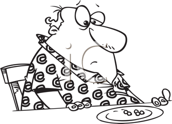 Royalty Free Clipart Image of a Chubby Guy Looking at Peas on His Plate