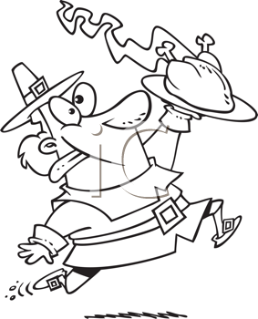 Royalty Free Clipart Image of a Pilgrim With a Roast Turkey