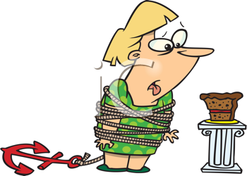 Royalty Free Clipart Image of a Woman Trying to Stay Away From Cake