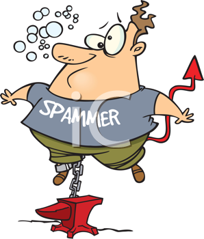 Royalty Free Clipart Image of a Man With Spammer on His Shirt Chained to a Weight Underwater