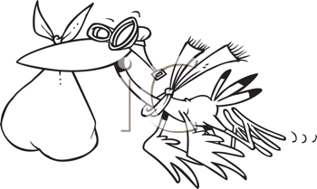 Royalty Free Clipart Image of a Stork Pilot Delivering a Baby
