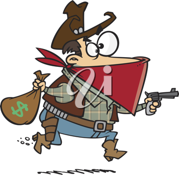 Royalty Free Clipart Image of an Outlaw