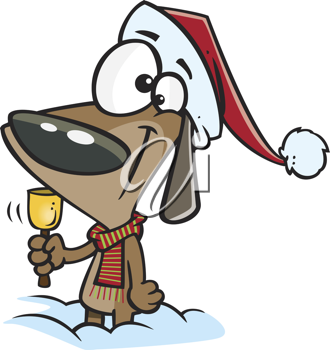 Royalty Free Clipart Image of a Christmas Dog