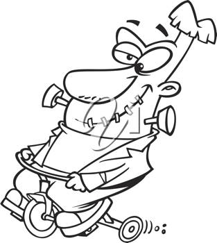 Royalty Free Clipart Image of Frankenstein on a Tricycle