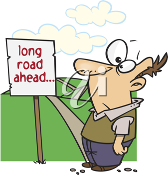 Royalty Free Clipart Image of a Man Looking at a Long Road Ahead Sign