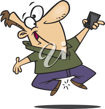 Royalty Free Clipart Image of a Happy Man With a New Phone