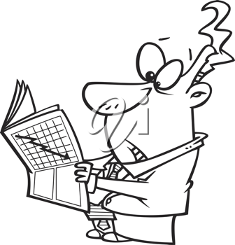 Royalty Free Clipart Image of a Man Holding a Newspaper Showing a Crash