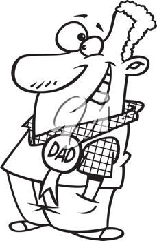 Royalty Free Clipart Image of a Dad Winning an Award
