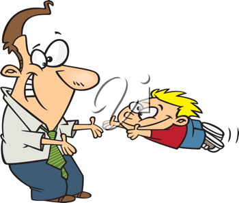 Royalty Free Clipart Image of a Son Jumping to His Father
