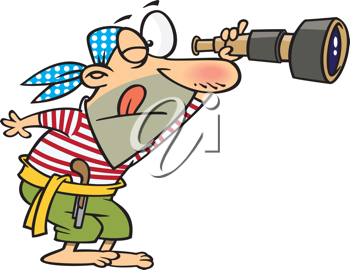 Royalty Free Clipart Image of a Man Spying