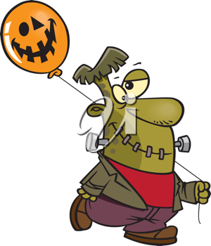 Royalty Free Clipart Image of Frankenstein Holding a Balloon