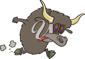 Royalty Free Clipart Image of a Running Yak