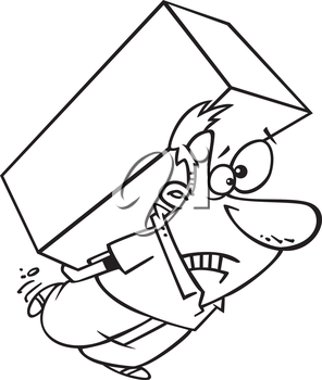 Royalty Free Clipart Image of a Man Carrying a Heavy Box