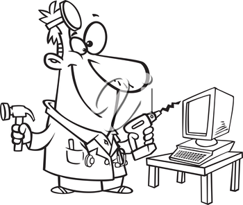 Royalty Free Clipart Image of a Computer Repairman
