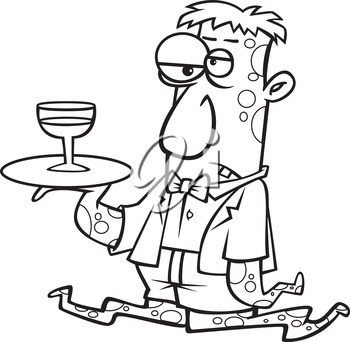Royalty Free Clipart Image of a Monster Serving Wine