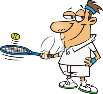 Royalty Free Clipart Image of a Man Playing Tennis
