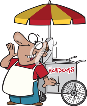 Royalty Free Clipart Image of a Hot Dog Vendor