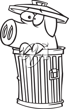 Royalty Free Clipart Image of a Scared Pig in a Trash Can
