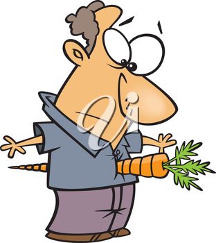 Royalty Free Clipart Image of a Man With a Carrot in His Stomach