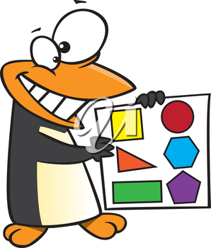 Royalty Free Clipart Image of a Penguin Holding a Page of Shapes