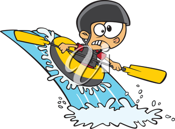 Royalty Free Clipart Image of a Boy in a Canoe