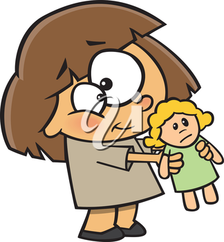 Royalty Free Clipart Image of a Girl With a Doll