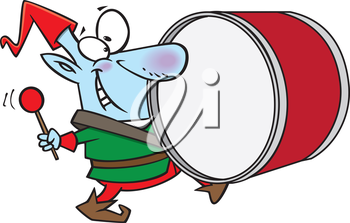 Royalty Free Clipart Image of an Elf Playing a Drum