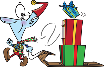Royalty Free Clipart Image of an Elf Pulling a Sled With Gifts