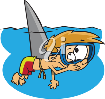 Royalty Free Clipart Image of a Boy as a Shark