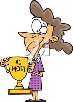 Royalty Free Clipart Image of a Mother With a Trophy