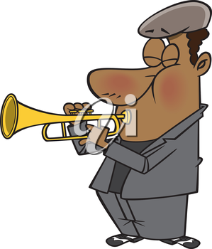 Royalty Free Clipart Image of a Man Playing Trumpet