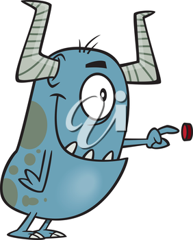 Royalty Free Clipart Image of a Monster Pushing a Button