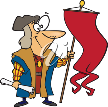 Royalty Free Clipart Image of an Historic Sailor With a Flag
