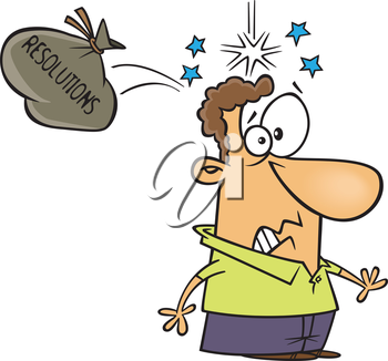 Royalty Free Clipart Image of a Man Hit on the Head by His Resolutions