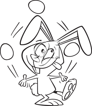 Royalty Free Clipart Image of a Bunny Juggling Easter Eggs