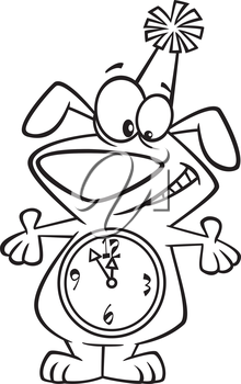 Royalty Free Clipart Image of a Dog Counting Down the Old Year