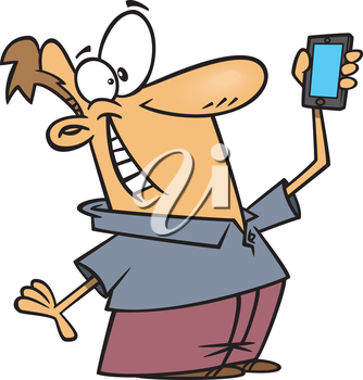 Royalty Free Clipart Image of a Man Taking a Selfie